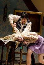 THE KILLING OF SISTER GEORGE   by Frank Marcus   set & lighting design: Ciaran Bagnall   costumes: Pam Tait   director: Iqbal Khan <br>  l-r: Meera Syal (June Buckridge), Elizabeth Cadwallader (Alice...