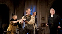 THE VEIL   written & directed by Conor McPherson   design: Rae Smith   lighting: Neil Austin ~l-r: Brid Brennan (Mrs Goulding), Peter McDonald (Mr Fingal), Caoilfhionn Dunne (Clare Wallace), Jim Norto...