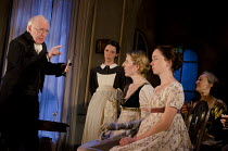 THE VEIL   written & directed by Conor McPherson   design: Rae Smith   lighting: Neil Austin ~l-r: Jim Norton (The Reverend Berkeley), Caoilfhionn Dunne Clare Wallace), Fenella Woolgar (Lady Madeleine...