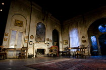 THE VEIL   written & directed by Conor McPherson   design: Rae Smith   lighting: Neil Austin   stage   set   empty   fireplace   windows   curtains Lyttelton Theatre / National Theatre (NT), London...