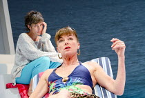 JUMPY   by April de Angelis   design: Lizzie Clachan   lighting: Peter Mumford   director: Nina Raine ~l-r: Tamsin Greig (Hilary), Doon Mackichan (Frances) ~Jerwood Theatre Downstairs / Royal Court Th...