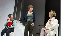 JUMPY   by April de Angelis   design: Lizzie Clachan   lighting: Peter Mumford   director: Nina Raine   l-r: Seline Hizli (Lyndsey), Tamsin Greig (Hilary), Sarah Woodward (Bea) Jerwood Theatre Downs...