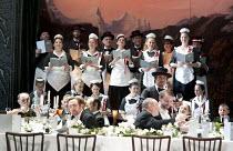 LA SONNAMBULA   by Bellini   conductor: Daniel Orin   set & lighting design: Marco Arturo Marelli   costumes: Dagmar Niefind-Marelli   director: Marco Arturo Marelli   hotel guests & staff  The Roya...