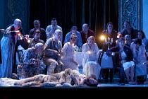 LA SONNAMBULA   by Bellini   conductor: Daniel Orin   set & lighting design: Marco Arturo Marelli   costumes: Dagmar Niefind-Marelli   director: Marco Arturo Marelli   hotel guests find Amina asleep...
