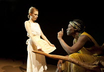 YERMA   by Federico Garcia Lorca   in a new version by Anthony Weigh   design: Ruth Sutcliffe   lighting: Mark Howland   director: Natalie Abrahami ~l-r: Ty Glaser (Yerma), Sharon Duncan-Brewster (Dol...
