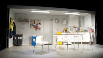 REASONS TO BE PRETTY   by Neil LaBute   design: Soutra Gilmour   lighting: Mark Henderson   director: Michael Attenborough   stage   set   empty   canteen   kitchen Almeida Theatre, London N1   17/1...