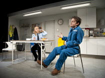 REASONS TO BE PRETTY   by Neil LaBute   design: Soutra Gilmour   lighting: Mark Henderson   director: Michael Attenborough ~Billie Piper (Carly), Tom Burke (Greg)~Almeida Theatre, London N1   17/11/20...