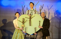 STICK MAN   adapted from the book by Julia Donaldson   design: Katie Sykes   lighting: Elanor Higgins   director: Sally Cookson ~l-r: Peta Dennis (Stick Lady Love), Mark Kane (Stick Man), Brian Hargre...