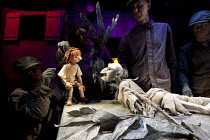 A VERY OLD MAN WITH ENORMOUS WINGS   by Anna Maria Murphy   puppetry director: Sarah Wright   design: Lyndie Wright   lighting: Malcolm Rippeth   director: Mike Shepherd ~Boy, Old Man~in association w...