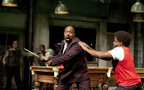 THE COMEDY OF ERRORS   by Shakespeare   design: Bunny Christie   lighting: Paule Constable   director: Dominic Cooke ~l-r: Lenny Henry (Antipholus of Syracuse), Lucian Msamati (Dromio of Syracuse)~Oli...