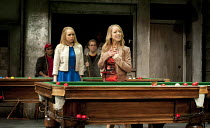 THE COMEDY OF ERRORS   by Shakespeare   design: Bunny Christie   lighting: Paule Constable   director: Dominic Cooke ~l-r: Michelle Terry (Luciana), Claudie Blakley (Adriana)~Olivier Theatre / Nationa...