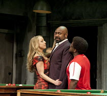 THE COMEDY OF ERRORS   by Shakespeare   design: Bunny Christie   lighting: Paule Constable   director: Dominic Cooke ~l-r: Claudie Blakley (Adriana), Lenny Henry (Antipholus of Syracuse), Lucian Msama...
