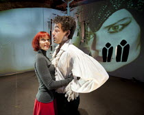 HOWL'S MOVING CASTLE   by Diana Wynne Jones   adapted for the stage by Mike Sizemore   design & direction: Davy & Kristin McGuire   lighting: Tim Bray ~Kristin McGuire (Young Sophie), Daniel Ings (How...