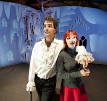 HOWL'S MOVING CASTLE   by Diana Wynne Jones   adapted for the stage by Mike Sizemore   design & direction: Davy & Kristin McGuire   lighting: Tim Bray ~Daniel Ings (Howl), Kristin McGuire (Young Sophi...