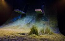 THE HEART OF ROBIN HOOD   by David Farr   set design: Borkur Jonsson   costumes: Emma Ryott   lighting: Bjorn Helgason   director: Gisli Orn Gardarsson   stage   set   grass   empty Royal Shakespear...