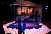 COMPANY   music & lyrics: Stephen Sondheim   design: Christopher Oram   lighting: Neil Austin   director: Jonathan Munby ~stage   set   loft appartment   New York   skyline   floorlights~Crucible Thea...