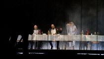 HAMLET   by Shakespeare   German translation by Marius von Mayenburg   set design: Jan Pappelbaum   costumes: Nina Wetzel   lighting: Erich Schneider   director: Thomas Ostermeier   from left: Robert...