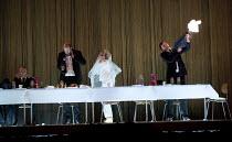 HAMLET   by Shakespeare   German translation by Marius von Mayenburg   set design: Jan Pappelbaum   costumes: Nina Wetzel   lighting: Erich Schneider   director: Thomas Ostermeier   l-r: Robert Beyer...