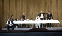 HAMLET   by Shakespeare   German translation by Marius von Mayenburg   set design: Jan Pappelbaum   costumes: Nina Wetzel   lighting: Erich Schneider   director: Thomas Ostermeier   l-t: (front) Lars...