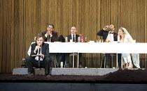 HAMLET   by Shakespeare   German translation by Marius von Mayenburg   set design: Jan Pappelbaum   costumes: Nina Wetzel   lighting: Erich Schneider   director: Thomas Ostermeier   l-r: Lars Eidinge...