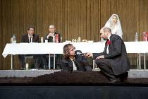 HAMLET   by Shakespeare   German translation by Marius von Mayenburg   set design: Jan Pappelbaum   costumes: Nina Wetzel   lighting: Erich Schneider   director: Thomas Ostermeier   front, l-r: Lars...