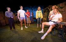 JOKING APART   by Alan Ayckbourn   set design: Holly Best   costumes: Kingsley Hall   lighting: Steve Miller   director: Ben De Wynter ~l-r: Paul Anthoney (Brian), (part obscured) Jamie Richards (Hugh...