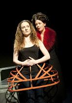 MARY STUART   by Schiller   lighting: Martin Dewar   director: Mark Leipacher ~l-r: Derval Mellett (Mary), Kate Sawyer (Elizabeth) ~Faction Theatre Company / New Diorama Theatre, London NW1   05/01/20...