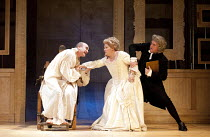 THE MADNESS OF GEORGE III   by Alan Bennett   design: Janet Bird   lighting: Oliver Fenwick   director: Christopher Luscombe   l-r: David Haig (King George III), Beatie Edney (Queen Charlotte), Cliv...