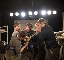 THE SEA PLAYS   by Eugene O'Neill  set design: Van Santvoord   costumes: Spyros Koskinas   lighting: Emma Chapman   director: Kenneth Hoyt ~In The Zone - centre, being tied up: Matthew Thomas (Smitty)...