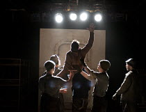 THE SEA PLAYS   by Eugene O'Neill  set design: Van Santvoord   costumes: Spyros Koskinas   lighting: Emma Chapman   director: Kenneth Hoyt ~Bound East for Cardiff - centre: Carsten Hayes (Yank) ~The O...