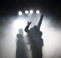 THE SEA PLAYS   by Eugene O'Neill  set design: Van Santvoord   costumes: Spyros Koskinas   lighting: Emma Chapman   director: Kenneth Hoyt ~Bound East for Cardiff - held aloft: Carsten Hayes (Yank) ~T...