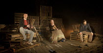 PORT AUTHORITY   by Conor McPherson   design: Francesca Reidy   lighting: Joshua Carr   director: Tom Attenborough ~l-r: Andrew Nolan (Kevin), John Rogan (Joe), Ardal O'Hanlon (Dermot)  ~Southwark Pla...