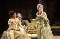 l-r: Cush Jumbo (Constance Neville), David Fynn (Tony Lumpkin), Sophie Thompson (Mrs Hardcastle) in SHE STOOPS TO CONQUER by Oliver Goldsmith at the Olivier Theatre, National Theatre (NT), London SE1...