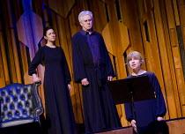 WAGNER DREAM   by Jonathan Harvey   conductor: Martyn Brabbins   design: Charlie Cridlan   director: Orpha Phelan ~l-r: Ruth Lass (Cosima Wagner), Nicholas Le Prevost (Richard Wagner), Claire Booth (P...