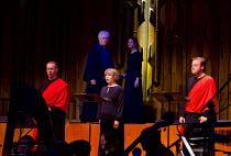 WAGNER DREAM   by Jonathan Harvey   conductor: Martyn Brabbins   design: Charlie Cridlan   director: Orpha Phelan ~front, l-r: Simon Bailey (Vairochana), Claire Booth (Prakriti), Andrew Staples (Anand...