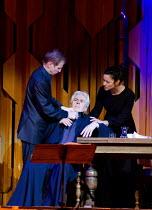 WAGNER DREAM   by Jonathan Harvey   conductor: Martyn Brabbins   design: Charlie Cridlan   director: Orpha Phelan ~l-r: Richard Jackson (Dr Keppler), Nicholas Le Prevost (Richard Wagner), Ruth Lass (C...