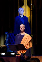WAGNER DREAM   by Jonathan Harvey   conductor: Martyn Brabbins   design: Charlie Cridlan   director: Orpha Phelan ~(front) Roderick Williams (Buddha), Nicholas Le Prevost (Richard Wagner)~BBC Symphony...