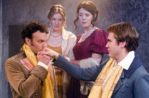 BLOODY POETRY   by Howard Brenton   set design: Will Reynolds   costumes: Emily Stuart   director: Tom Littler   l-r: David Sturzaker (Lord Byron), Joanna Christie (Claire Clairmont), Rhiannon Sommer...