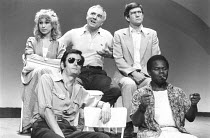 CLOUDS   by Michael Frayn   director: Michael Rudman ~~clockwise from top left: Felicity Kendal (Mara), Mark Kingston (Ed), Tom Courtenay (Owen), Mark Heath (Hilberto), Paul Chapman (Angel) ~Duke of Y...