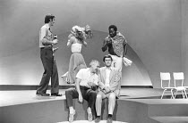 CLOUDS   by Michael Frayn   director: Michael Rudman ~~l-r - rear: Paul Chapman (Angel), Felicity Kendal (Mara), Mark Heath (Hilberto)   front: Mark Kingston (Ed), Tom Courtenay (Owen)~Duke of York's...