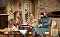 ABSENT FRIENDS   by Alan Ayckbourn   design: Tom Scutt   lighting: Peter Mumford   director: Jeremy Herrin ~~l-r: Katherine Parkinson (Diana), Reece Shearsmith (Colin), Elizabeth Berrington (Marge) ~H...
