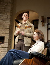 ABSENT FRIENDS   by Alan Ayckbourn   design: Tom Scutt   lighting: Peter Mumford   director: Jeremy Herrin ~~Reece Shearsmith (Colin), Kara Tointon (Evelyn) ~Harold Pinter Theatre / London SW1   09/02...