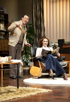 ABSENT FRIENDS   by Alan Ayckbourn   design: Tom Scutt   lighting: Peter Mumford   director: Jeremy Herrin ~Reece Shearsmith (Colin), Kara Tointon (Evelyn) ~Harold Pinter Theatre / London SW1   09/02/...