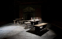 BINGO   by Edward Bond   design: Robert Innes Hopkins   lighting: Tim Mitchell   director: Angus Jackson ~stage   set   empty   inn   table   bench   ale   ~Chichester Festival Theatre 2010 production...