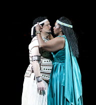 AIDA   by Verdi   conductor: Andrew Greenwood   design: Isabella Bywater   lighting: Andrew Bridge   choreographer: Sarah Fahie   director: Stephen Medcalf ~Marc Heller (Radames), Indra Thomas (Aida)...