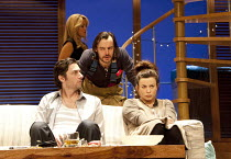 ALL NEW PEOPLE   by Zach Braff   director: Peter DuBois   front l-r: Zach Braff (Charlie Bloom), Paul Hilton (Myron Dunlap), Eve Myles (Emma Thomas) with (rear) Susannah Fielding (Kim) Duke of York'...