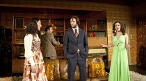 ABIGAIL'S PARTY   by Mike Leigh   design: Mike Britton   lighting: Howard Harrison   director: Lindsay Posner ~l-r: Nathalie Casey (Angela), Andy Nyman (Laurence), Joe Absolom (Tony), Jill Halfpenny (...