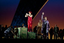 MISS FORTUNE   by Judith Weir   conductor: Paul Daniel   set design: Tom Pye   costumes: Han Feng   lighting: Scott Zielinski   director: Chen Shi-Zheng   checking her lottery numbers - centre, l-r:...