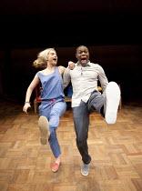 PLAY HOUSE   by Martin Crimp   design: Sam Dowson   lighting: John Harris   director: Martin Crimp ~Lily James (Katrina), Obi Abili (Simon) ~Orange Tree Theatre, Richmond, Surrey, England   16/03/2012