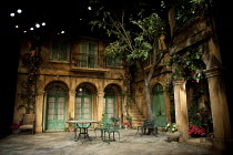 FILUMENA   by Eduardo De Filippo   in a new English version by Tanya Ronder   design: Robert Jones   lighting: Tim Mitchell   director: Michael Attenborough ~stage   set   empty   lights   courtyard...